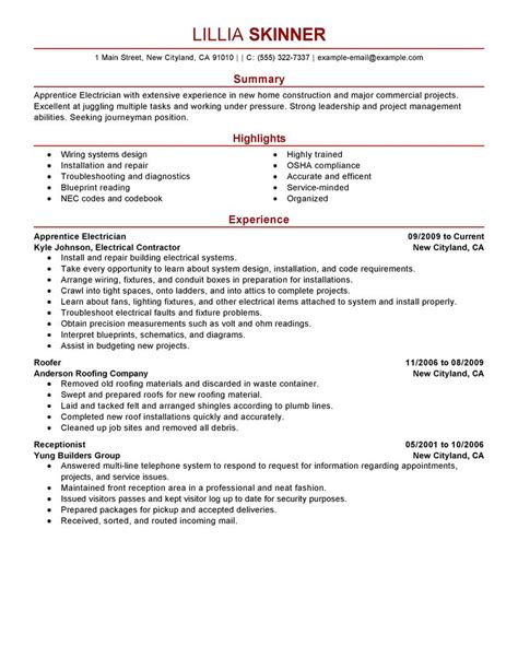 electrical apprentice resume examples template