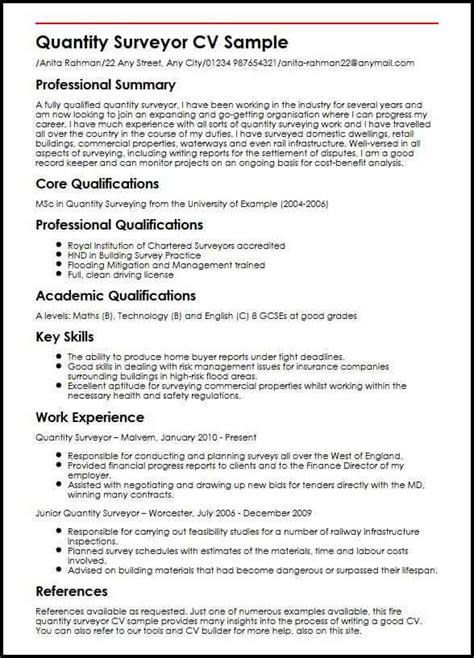 resume sample for quantity surveyor 2 quantity surveyor resume samples examples careerride quantity surveyor resume