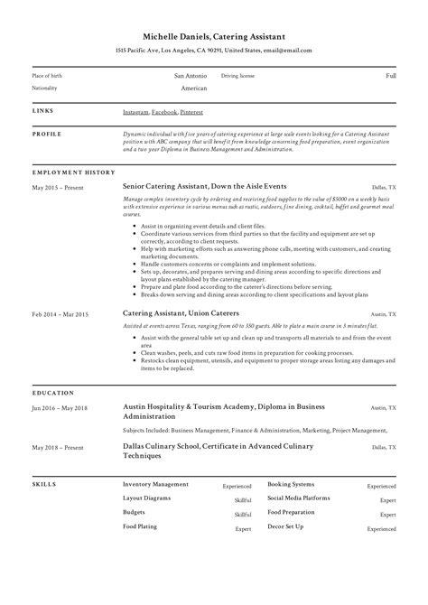 resume sample for catering job sample professional bartender resume