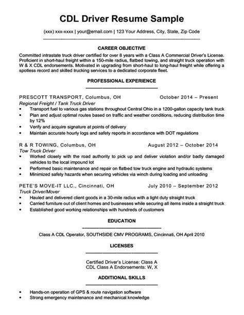 Resume Sample For Driver Cdl Driver Resume Sample Best Sample Resume