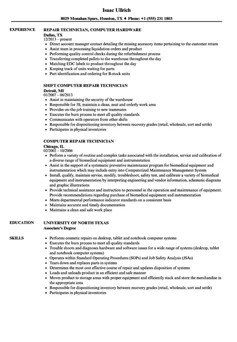 resume sample format computer technician computer repair technician resume example livecareer - Sample Resume Of Computer Technician