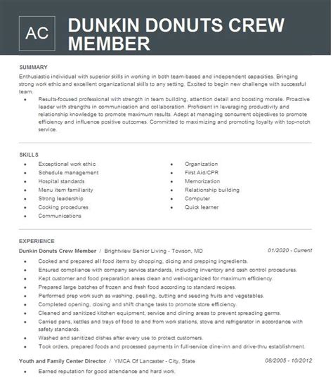resume sample for dunkin donuts dunkin donuts crew member resume example livecareer