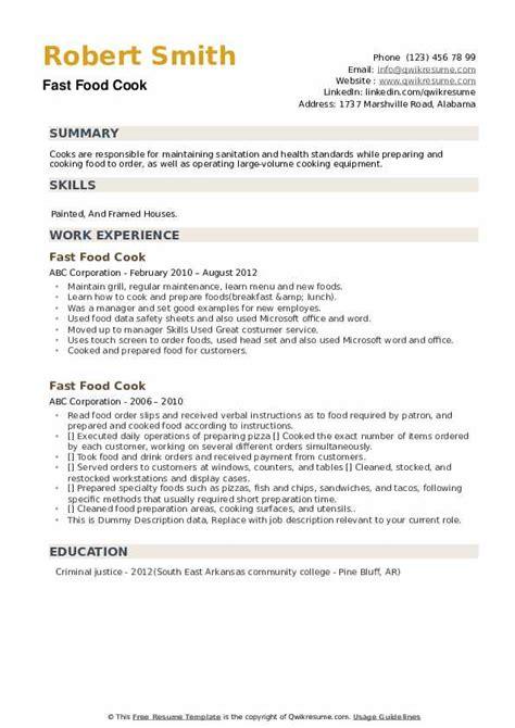 resume sample fast food fast food cook resume samples jobhero