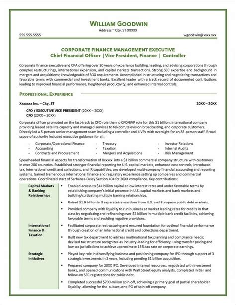 Consulting Resumes Samples Resume Sample For A Cfo Distinctive Documents