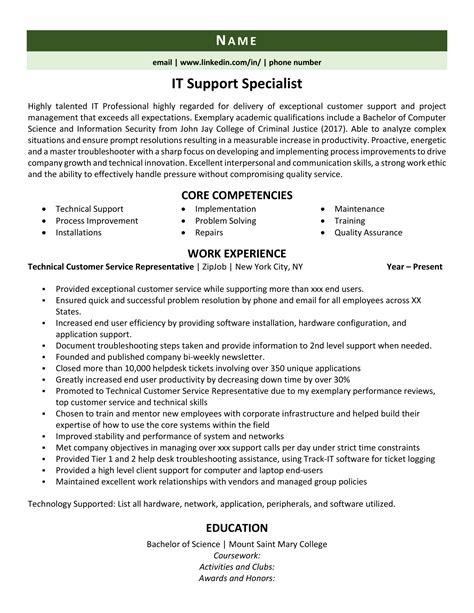 resume sample format computer technician it support technician resume samples livecareer - Sample Resume Of Computer Technician