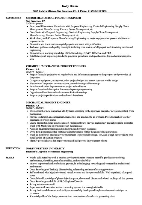 resume sample for mechanical project engineer mechanical project engineer resume example - Mechanical Project Engineer Sample Resume