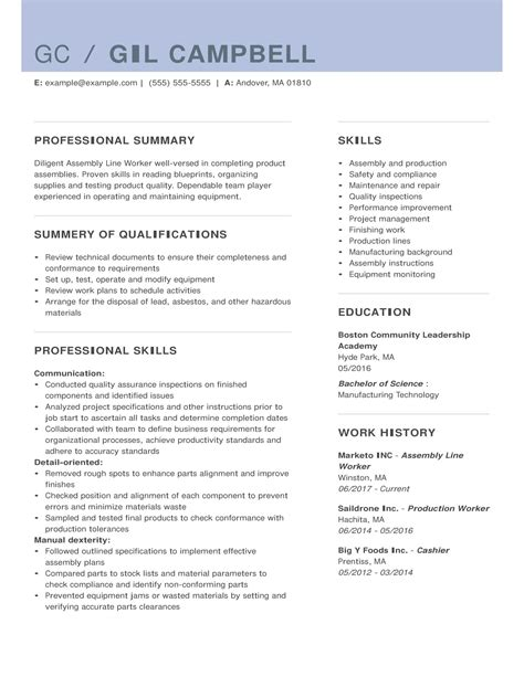 resume sample for production worker production line worker resume samples jobhero - Assembly Line Resume Sample