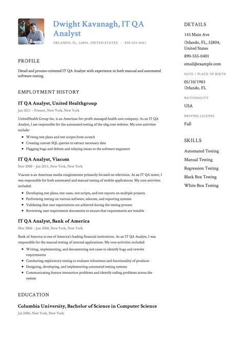resume sample qa qa analyst resume sample quality assurance analyst resume qa resume template