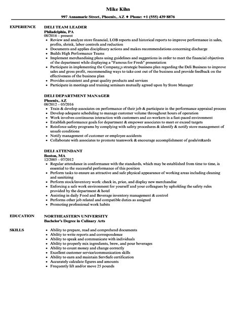 Resume Resume Sample Deli Manager resume sample deli manager example psychology graduate deli