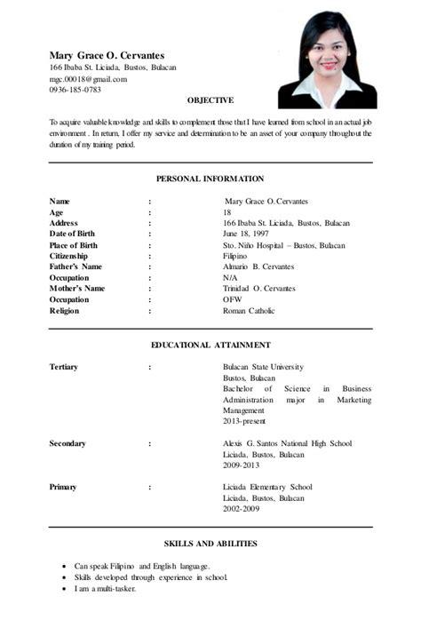 resume sample for fresh graduate philippines sample resume fresh graduate philippines - Sample Resume For Fresh Graduate