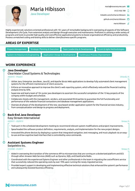resume sample java developer java developer resume free downloadable cv template - Sample Java Developer Resume