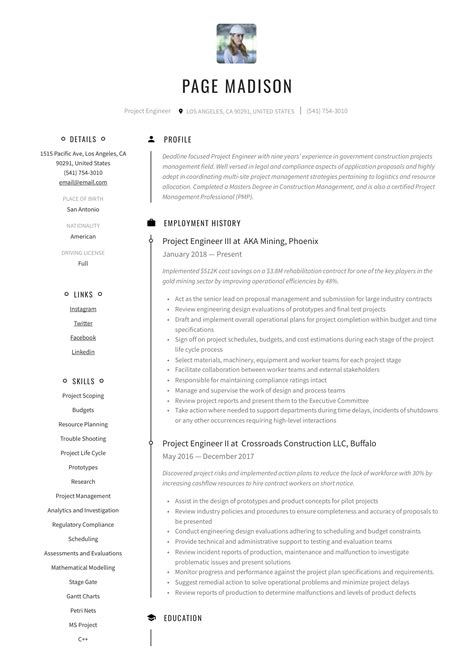 resume sample of project engineer sample resume project engineer dice insights - Chief Project Engineer Sample Resume