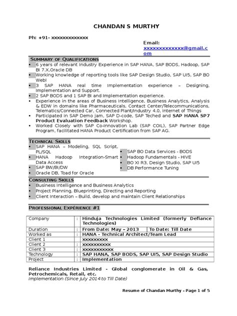 sap bi resume sample brilliant ideas of sap bi developer cover