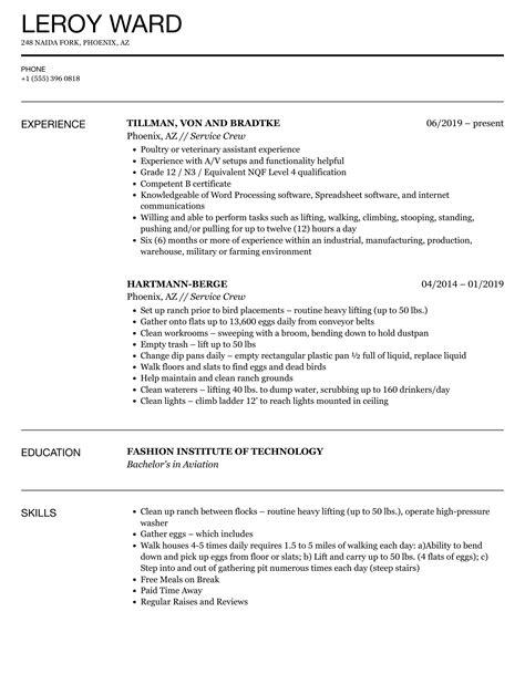 Resume Sample Service Crew Applicant Executive Resume Templates
