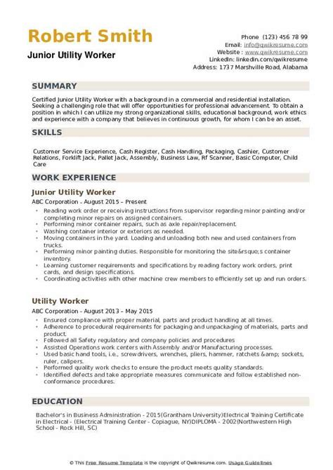 Resume Sample For Utility Worker Examplesof