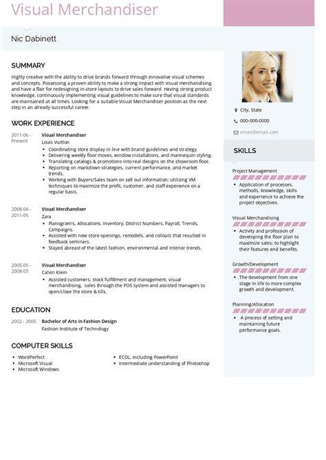 visual merchandiser cv template dayjob - Visual Merchandising Resume Sample