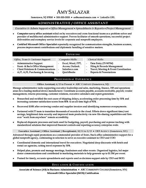 resume samples senior administrative assistant 2 administrative office assistant resume samples examples