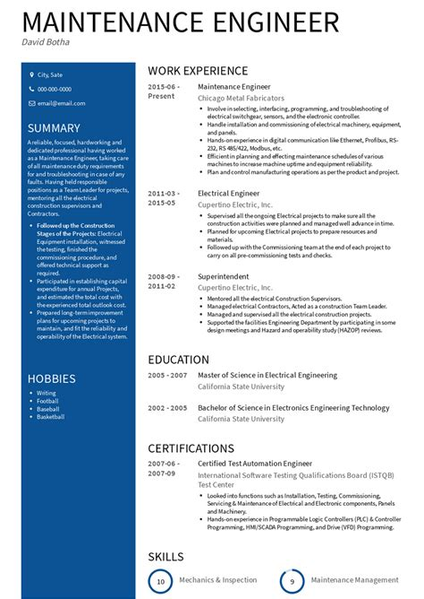 Resume Samples For Diploma Mechanical Engineer 3 Maintenance Engineer Resume Samples Examples Download