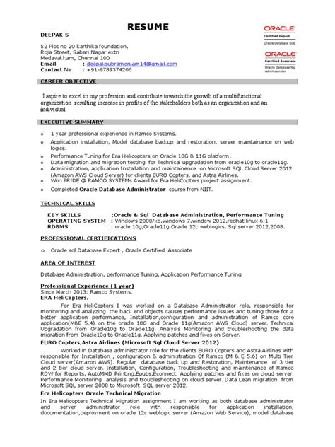 resume samples for sql server dba 3 oracle dba resume samples examples download now