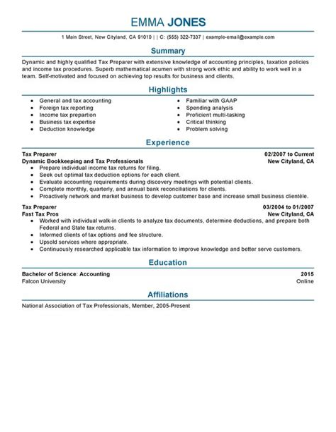 resume samples tax preparer best tax preparer resume example livecareer - Tax Preparer Resume Sample