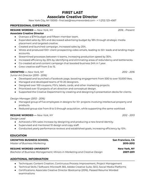 Resume Samples Creative Director Creative Director Resume Samples Jobhero