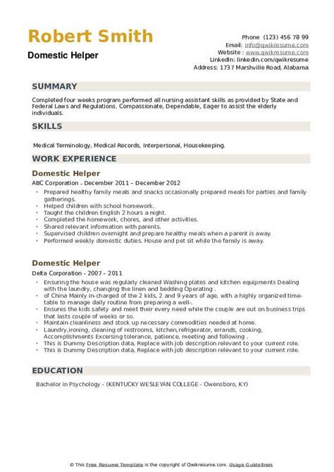 Resume Samples Kitchen Helper Domestic Helper Resume Sample