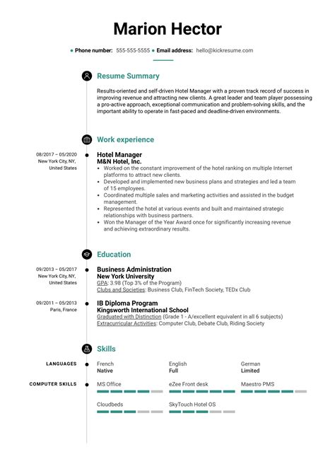 Resume Samples Hotel Manager Effective Hotel Manager Resume Writing Tips