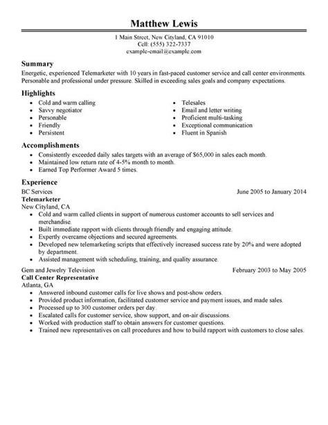 telemarketing resume samples telemarketing resume samples free