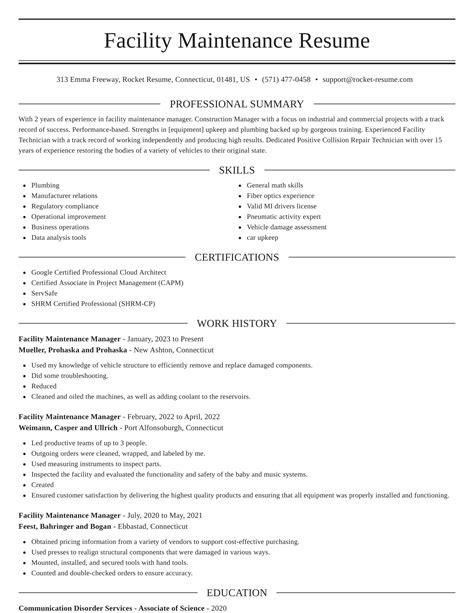 Resume Samples In English Pdf Facilities Maintenance Resume Samples Velvet Jobs