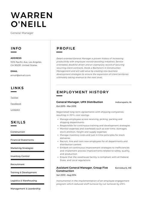 Resume Samples For Recent College Grads General Manager Resume Samples Templates And Tips