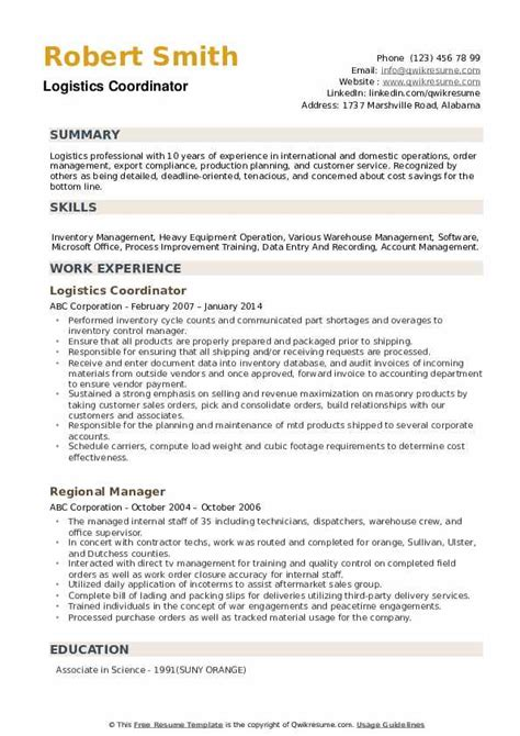 sample logistics coordinator resume a professional resume