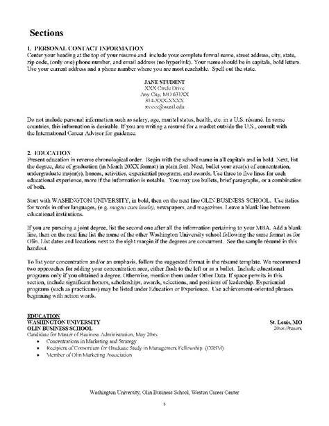 resume for internship of mba
