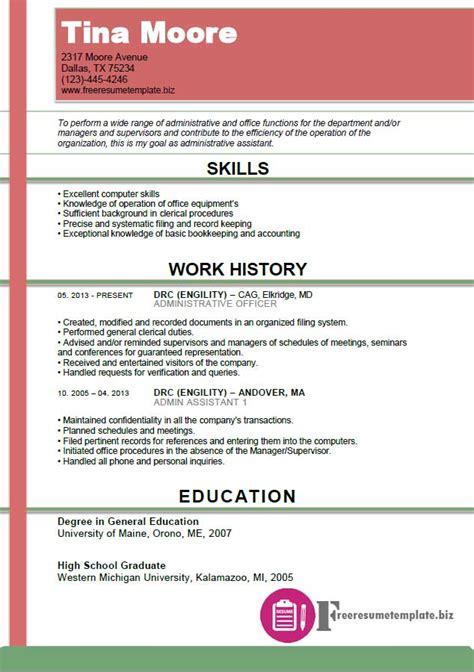 resume for office work