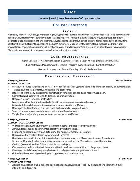 Resume Samples For University Professors University Professor Resume Samples Jobhero