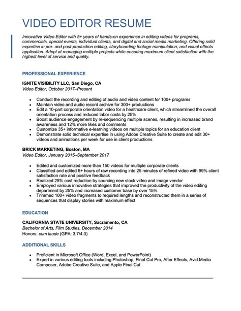 Resume Examples For Video Editor. Resume. Ixiplay Free Resume Samples