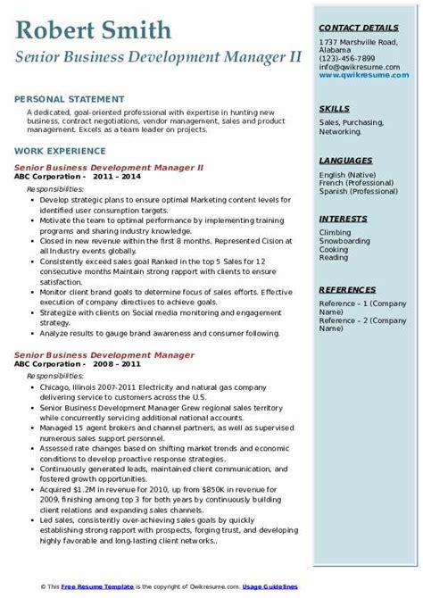 sample resume for business development manager