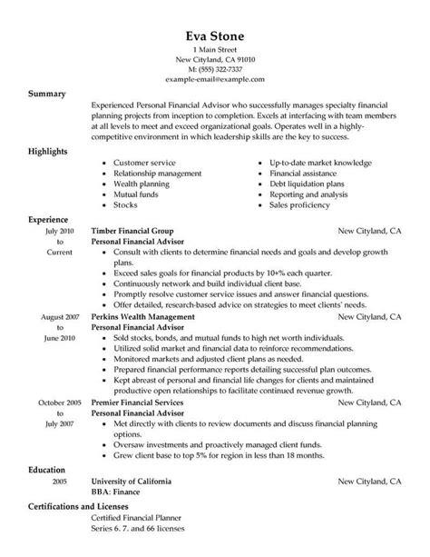 Resume Service Advisor Financial Advisor Sample Resume Cvtips