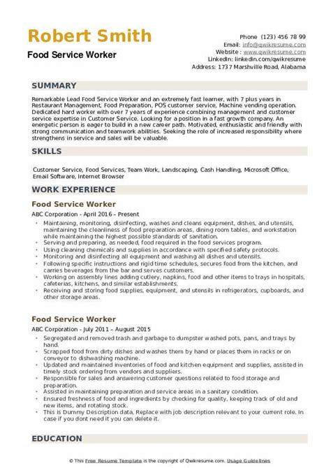 resume skills for food service food service worker resume example cover letters and food service