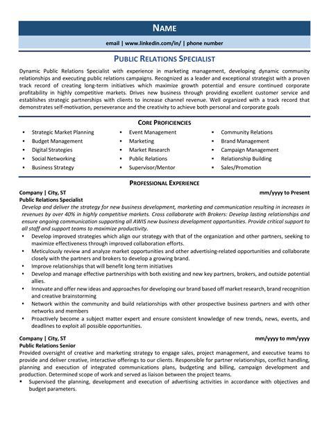 Resume Skills Public Relations Public Relations Executive Resume Example