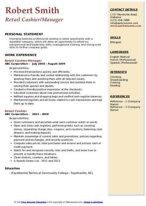 resume store manager job description retail cashier job description resume and cover letter