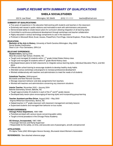 Resume Summary Introduction Examples Free Resume Examples Job Type Career Level And Industry