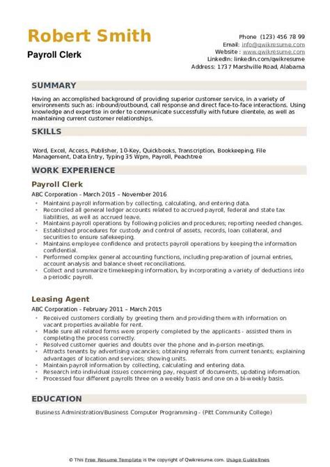 resume summary examples for payroll clerk payroll clerk resume best sample resume. Resume Example. Resume CV Cover Letter