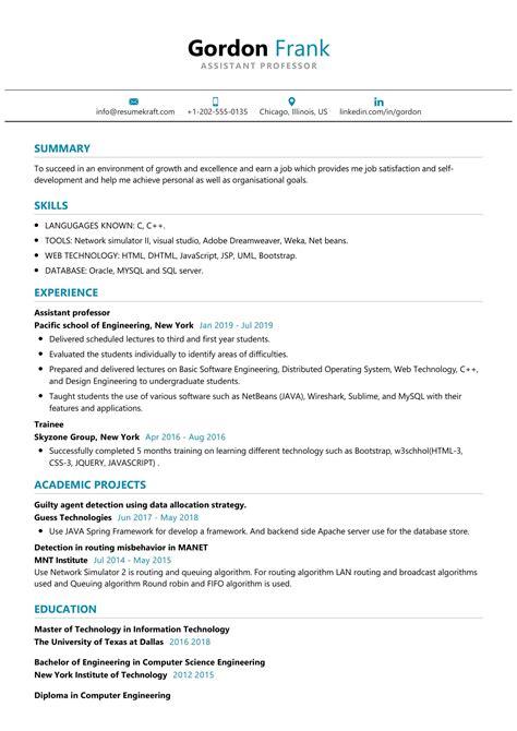resume template for college professor assistant professor resume samples sample resume - Professor Resume Sample