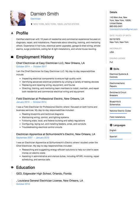 curriculum vitae modelo hecho - Electrician Resume Examples