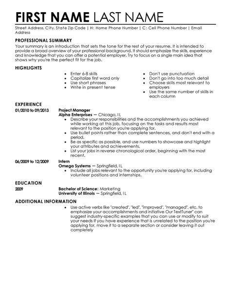 Resume Template Undergraduate Entry Level Resume Template