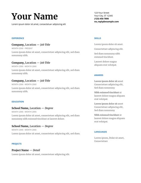 resume templates for google drive