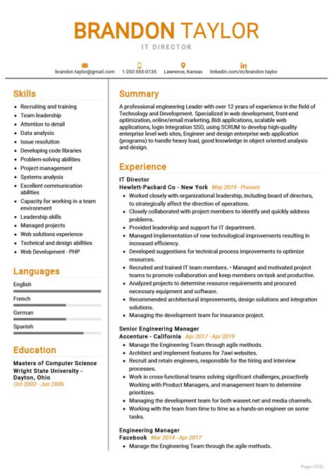 Resume Template Senior Project Manager It Director Or Senior Manager Resume Template Premium