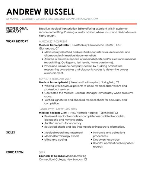 medical transcription resume samples