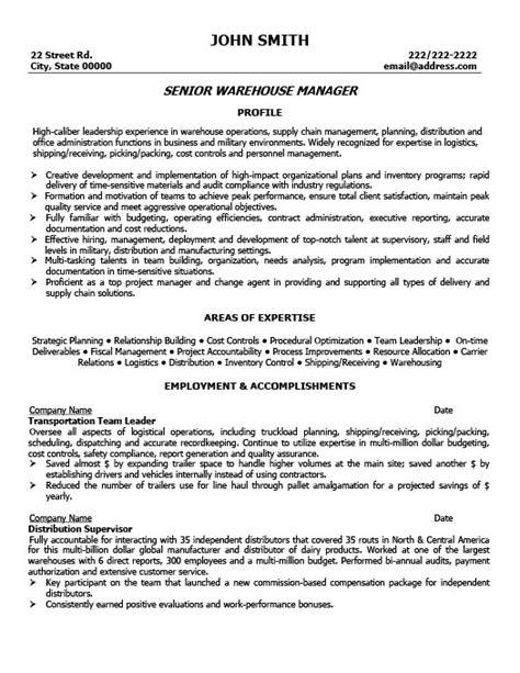 Resume Template Senior Project Manager Senior Warehouse Manager Resume Template