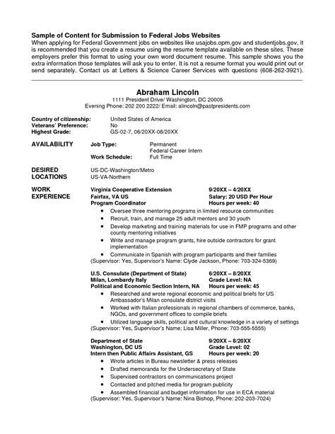 Resume Template Undergraduate Templateguide Federal Resume
